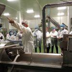 Los visitantes de Fundación Down Zaragoza atienden las explicaciones sobre el proceso productivo de frutos secos